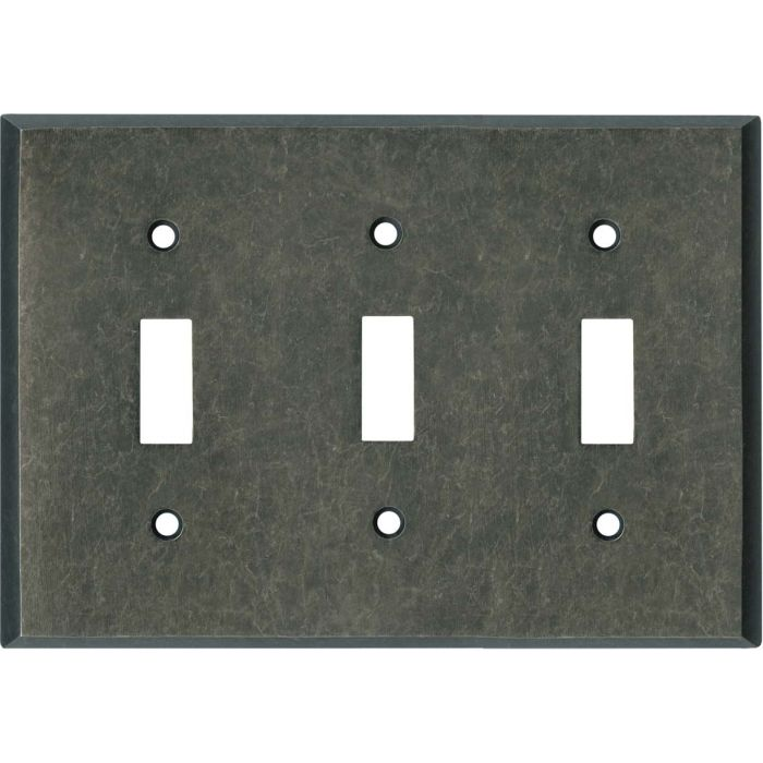 Mottled Antique Pewter Triple 3 Toggle Light Switch Covers