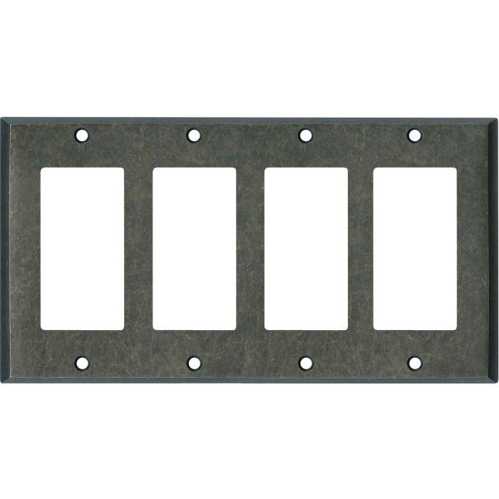 Mottled Antique Pewter 4 Rocker GFCI Decorator Switch Plates