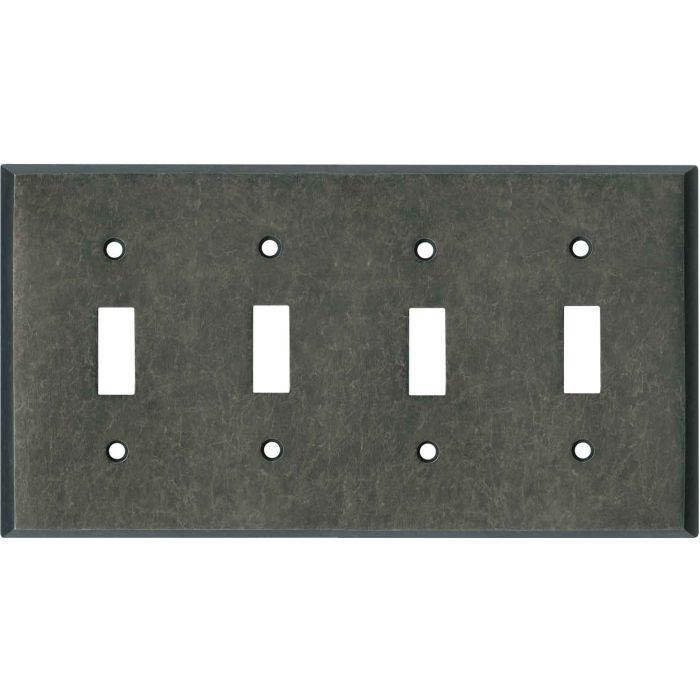 Mottled Antique Pewter Quad 4 Toggle Light Switch Covers