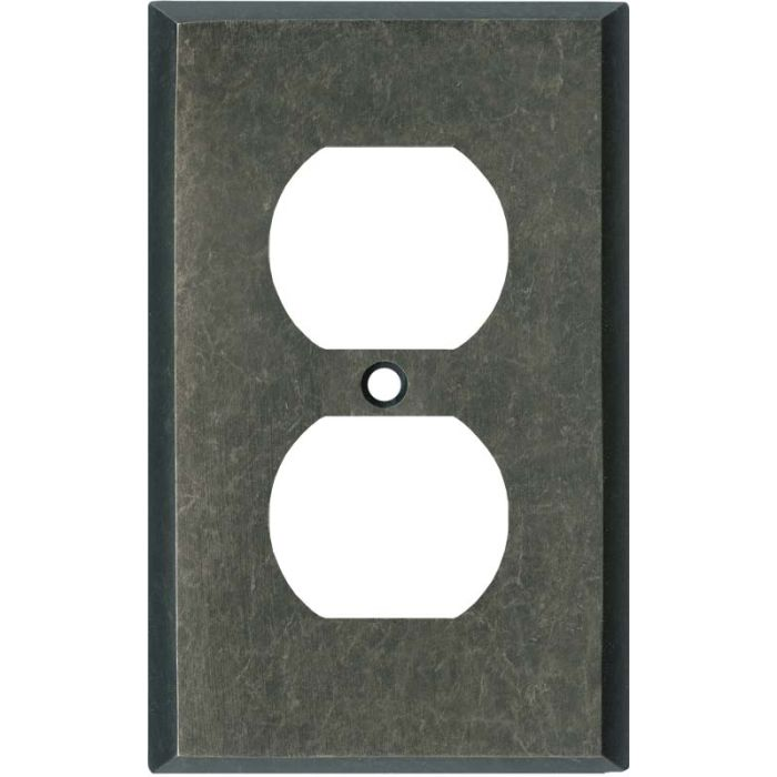 Mottled Antique Pewter 1 Gang Duplex Outlet Cover Wall Plate