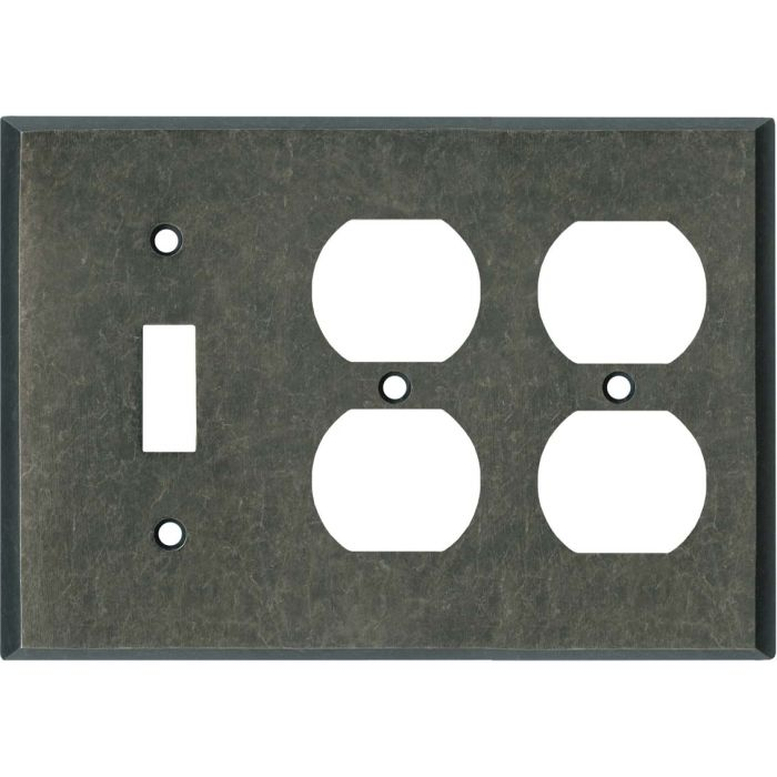 Mottled Antique Pewter Combintion Single 1 Toggle / Double 2 Outlet Wall Plates