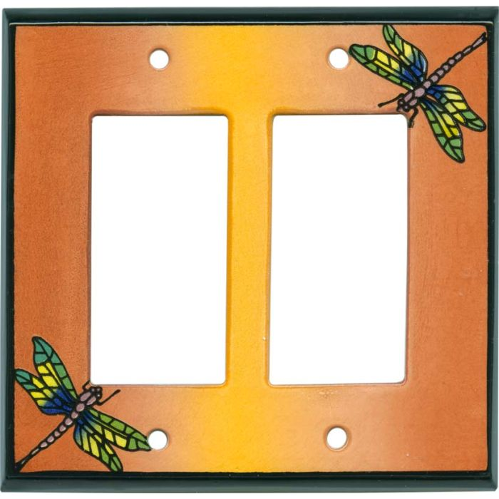 Multi Dragonfly Ceramic 2 Gang Double GFCI Rocker Decorator Wallplates