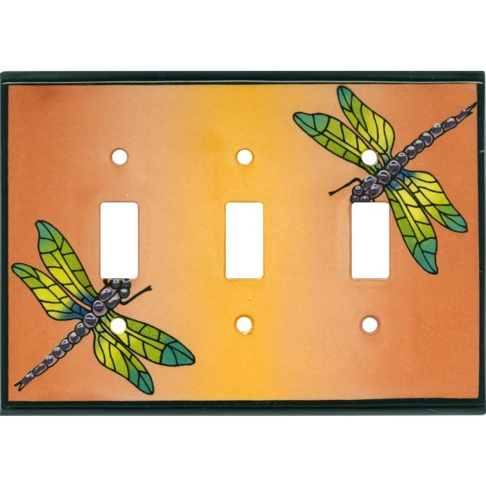 Multi Dragonfly Ceramic Triple 3 Toggle Light Switch Covers