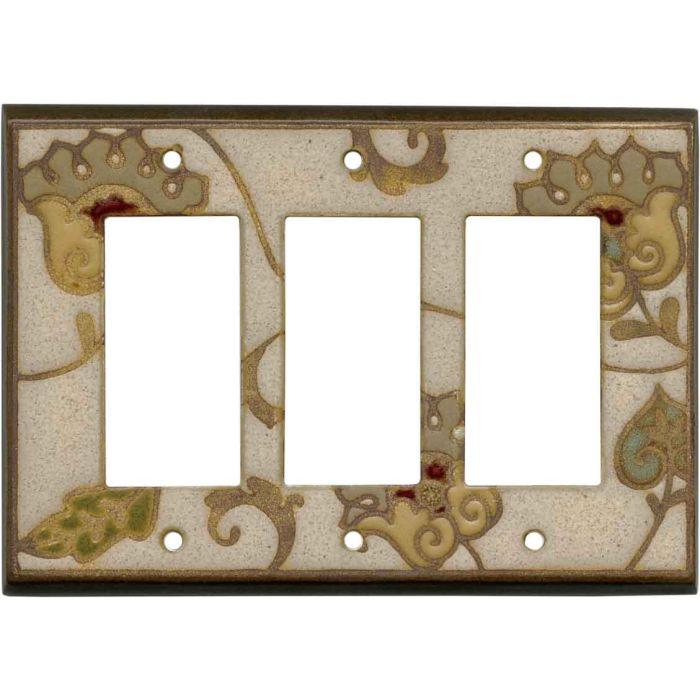 Needlepoint Ceramic Triple 3 Rocker GFCI Decora Light Switch Covers