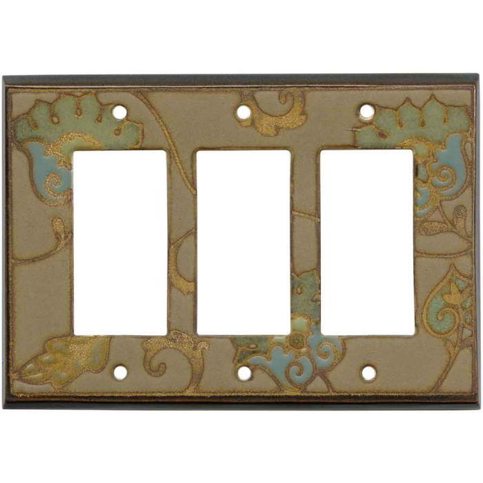 Needlepoint Peacock Ceramic3 - Rocker / GFCI Decora Switch Plate Cover