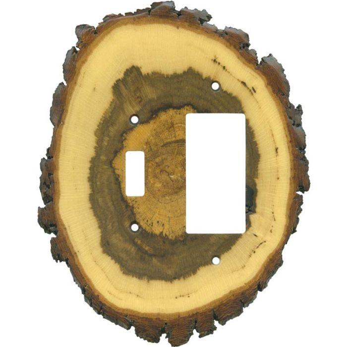 Oak Slice Combination 1 Toggle / Rocker GFCI Switch Covers