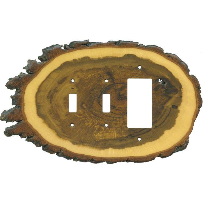 Oak Slice Double 2 Toggle / 1 GFCI Rocker Combo Switchplates