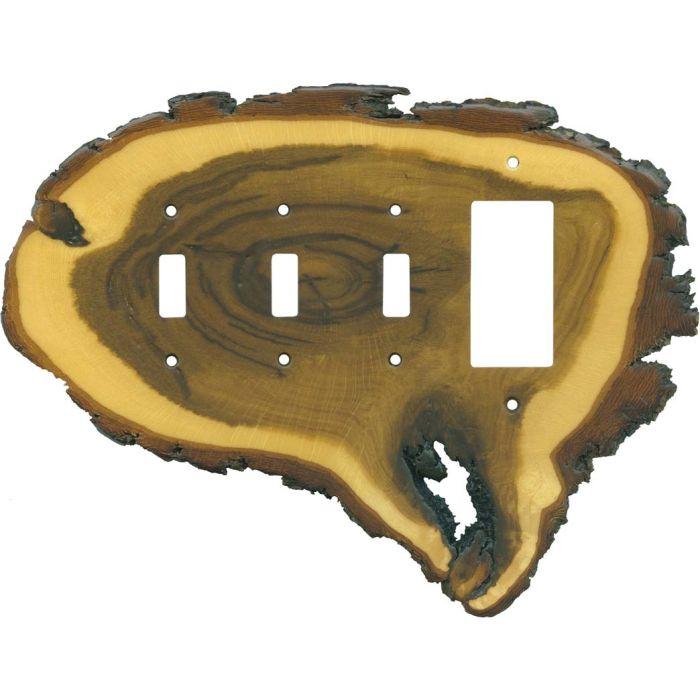 Oak Slice Triple 3 Toggle / 1 Rocker GFCI Switch Covers
