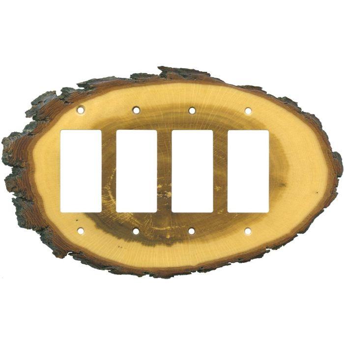 Oak Slice 4 Rocker GFCI Decorator Switch Plates