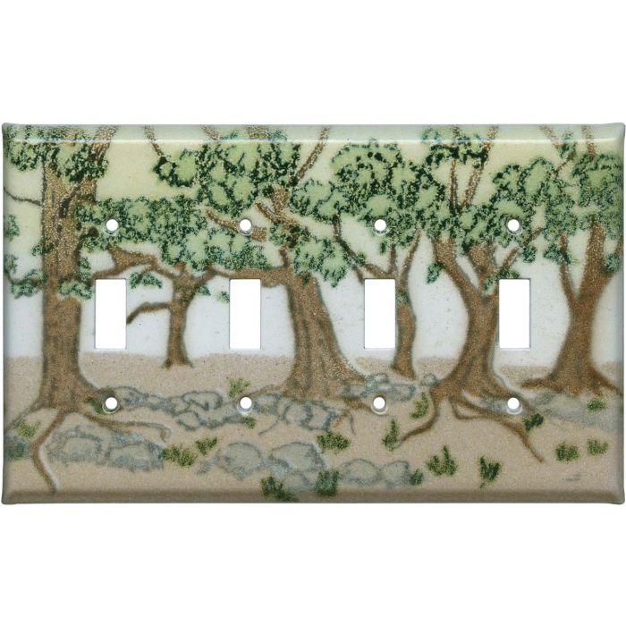 Oak Trees Quad 4 Toggle Light Switch Covers
