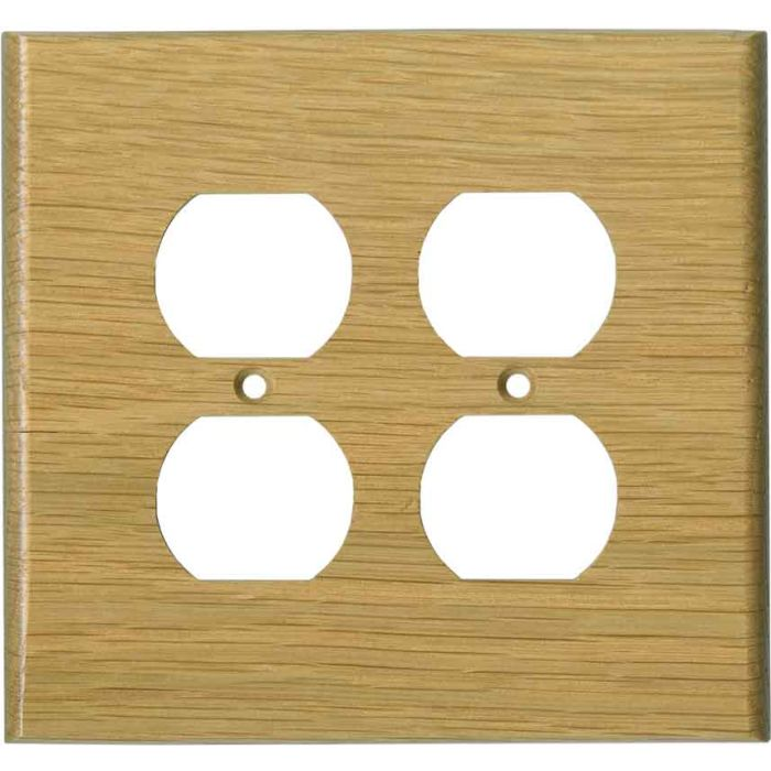 Oak White Satin Lacquer - 2 Gang Electrical Outlet Covers