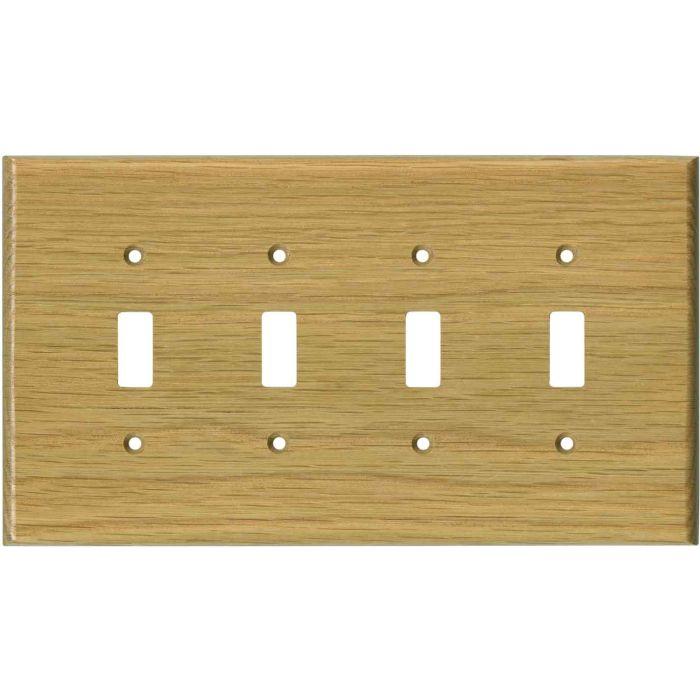 Oak White Satin Lacquer Quad 4 Toggle Light Switch Covers