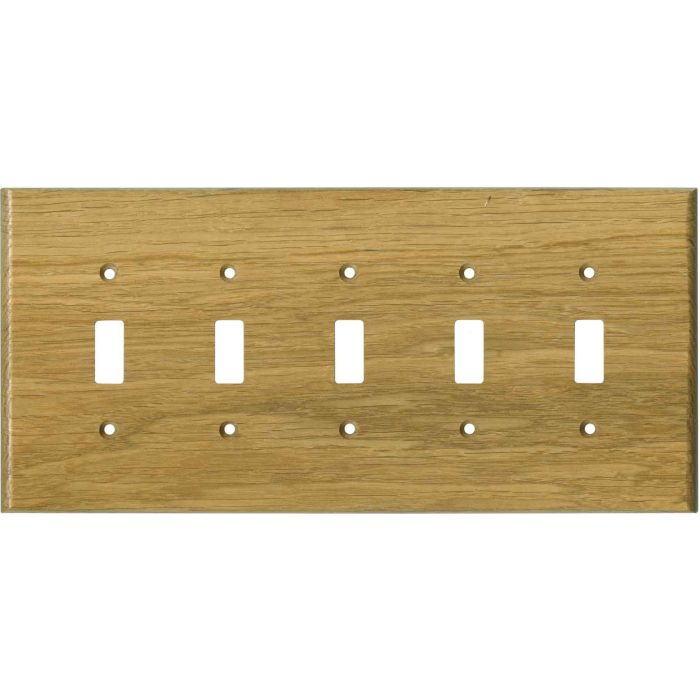 Oak White Satin Lacquer 5 Toggle Wall Switch Plates