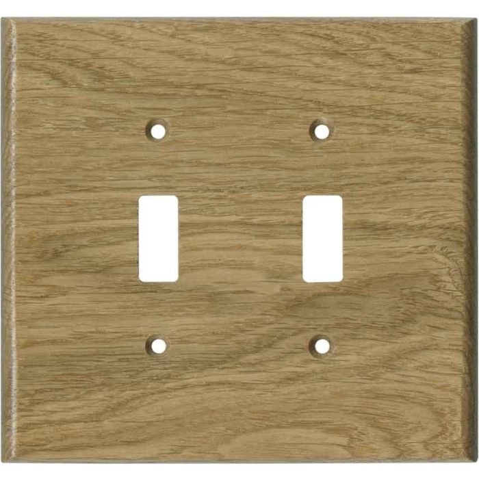 Oak White Unfinished - Double Toggle Switch Plates
