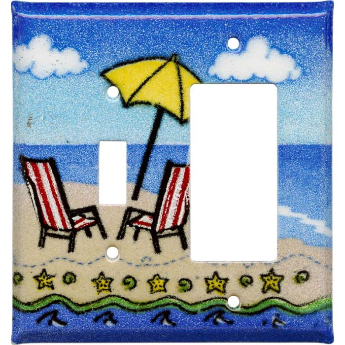 Ocean Beach Combination 1 Toggle / Rocker GFCI Switch Covers