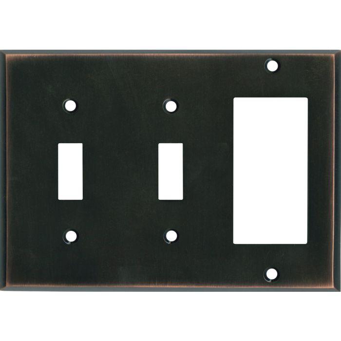 Oil Rubbed Bronze - 2 Toggle/1 GFCI Rocker Switchplates