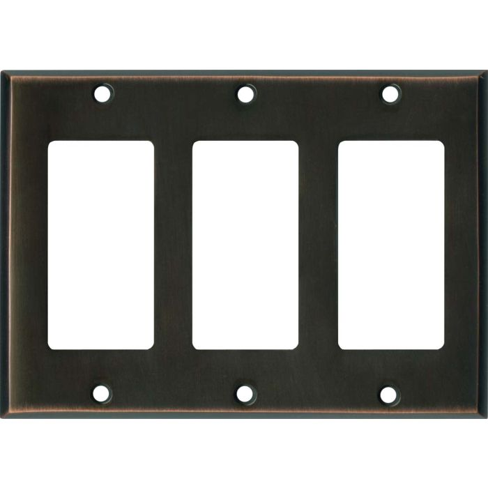 Oil Rubbed Bronze Triple 3 Rocker GFCI Decora Light Switch Covers