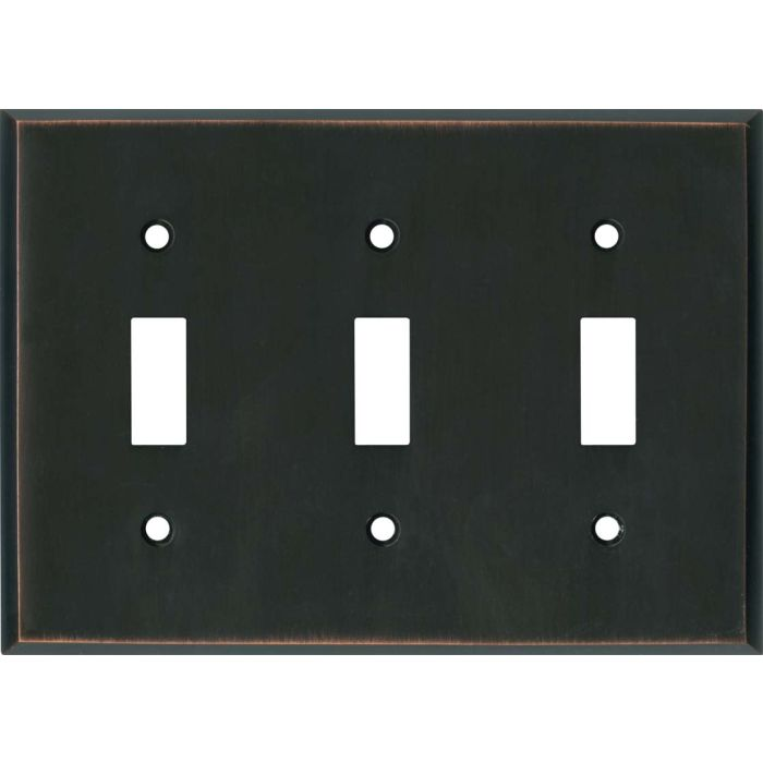 Oil Rubbed Bronze Triple 3 Toggle Light Switch Covers