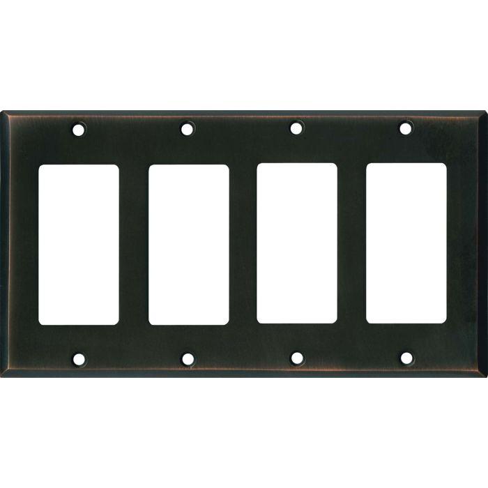 Oil Rubbed Bronze 4 Rocker GFCI Decorator Switch Plates