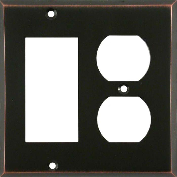 Oil Rubbed Bronze Combination GFCI Rocker / Duplex Outlet Wall Plates