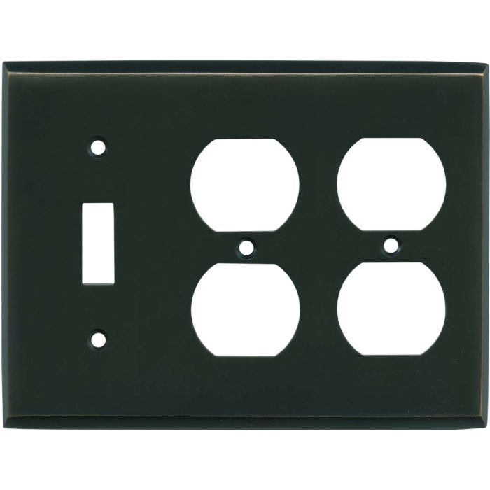 Oil Rubbed Bronze Combintion Single 1 Toggle / Double 2 Outlet Wall Plates