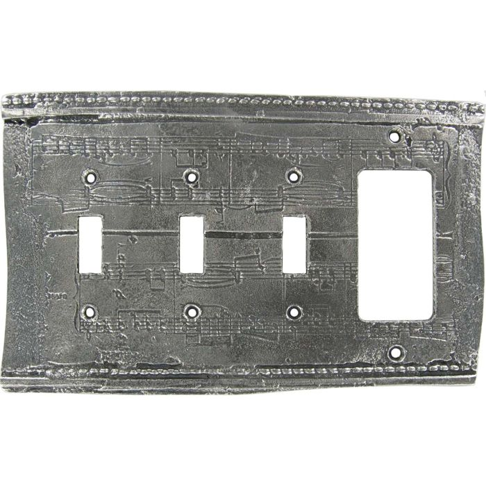 Old Sheet Music Triple 3 Toggle / 1 Rocker GFCI Switch Covers