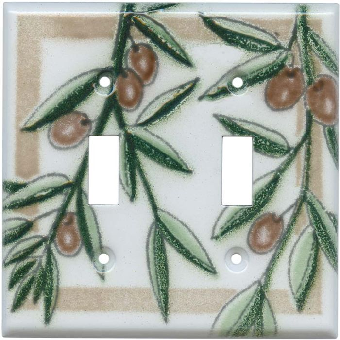 Olive Double 2 Toggle Switch Plate Covers