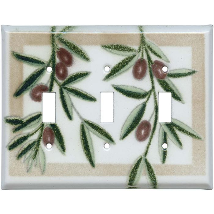 Olive Triple 3 Toggle Light Switch Covers