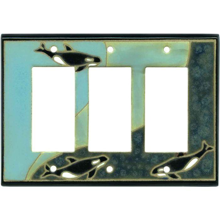 Orca Ceramic Triple 3 Rocker GFCI Decora Light Switch Covers