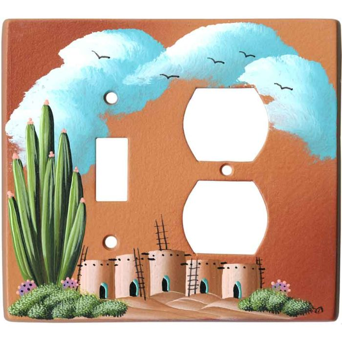 Organ Pipe Cactus on Terra Cotta Combination 1 Toggle / Outlet Cover Plates