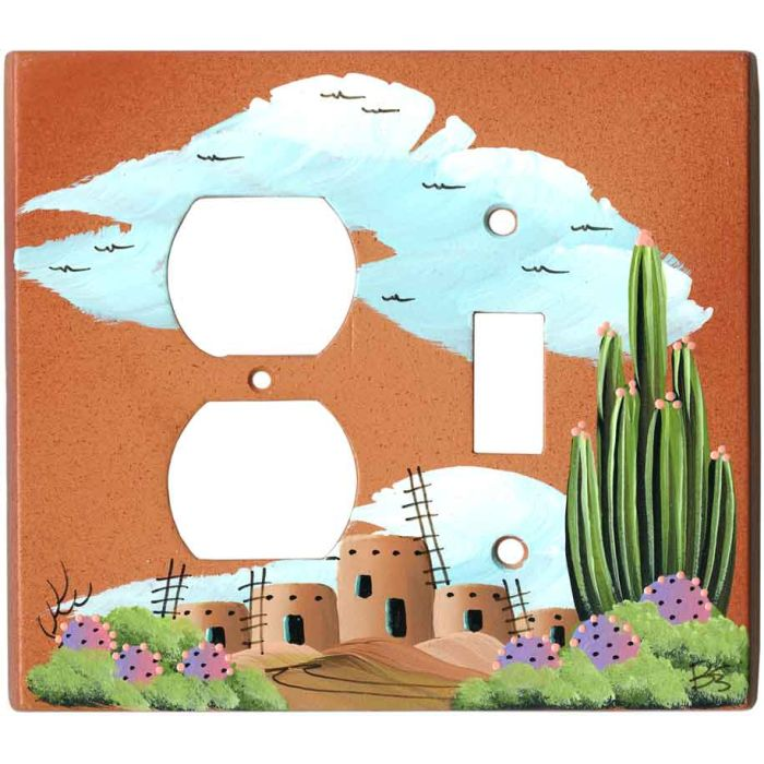Organ Pipe Cactus on Terra Cotta 1-Duplex / 1-Toggle - Combination Wall Plates