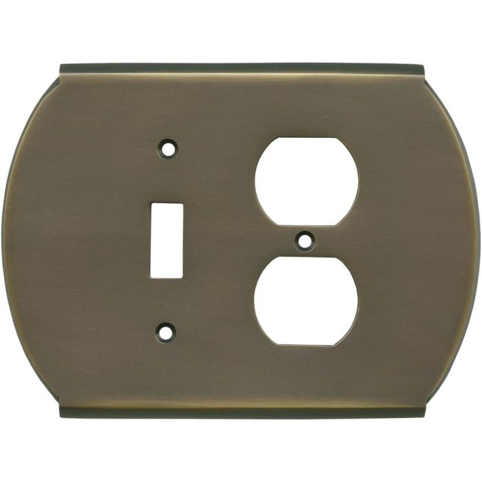 Ovalle Antique Brass Combination 1 Toggle / Outlet Cover Plates