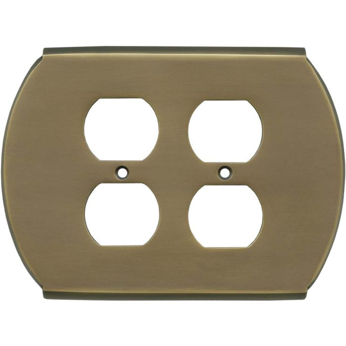 Ovalle Antique Brass 2 Gang Duplex Outlet Wall Plate Cover