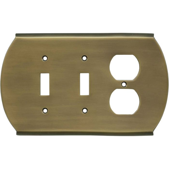 Ovalle Antique Brass Double 2 Toggle / Outlet Combination Wall Plates