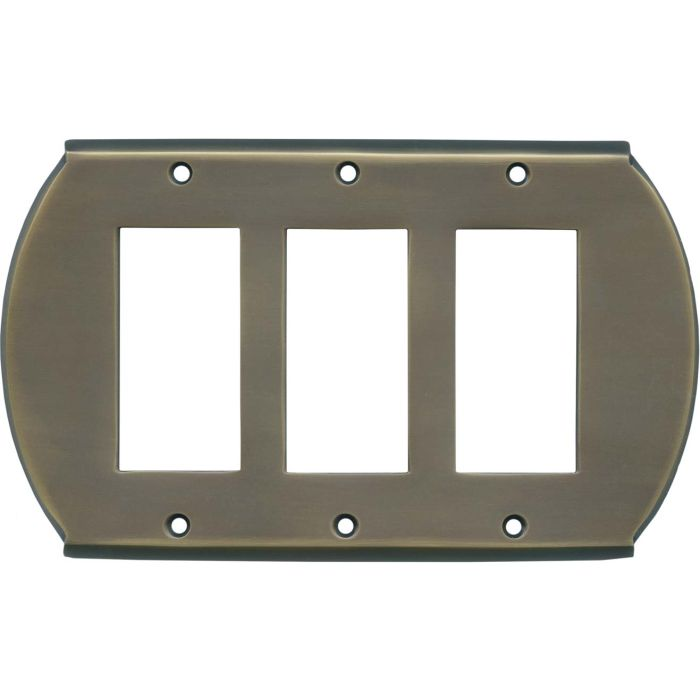 Ovalle Antique Brass - 3 Rocker GFCI Decora Switch Covers