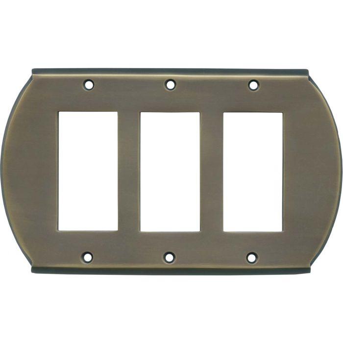 Ovalle Antique Brass Triple 3 Rocker GFCI Decora Light Switch Covers