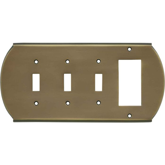Ovalle Antique Brass Triple 3 Toggle / 1 Rocker GFCI Switch Covers