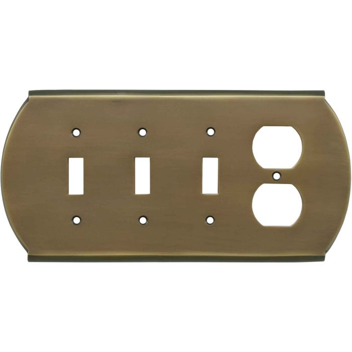 Ovalle Antique Brass Combination Triple 3 Toggle / Outlet Wall Plate Covers