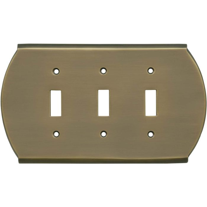 Ovalle Antique Brass Triple 3 Toggle Light Switch Covers