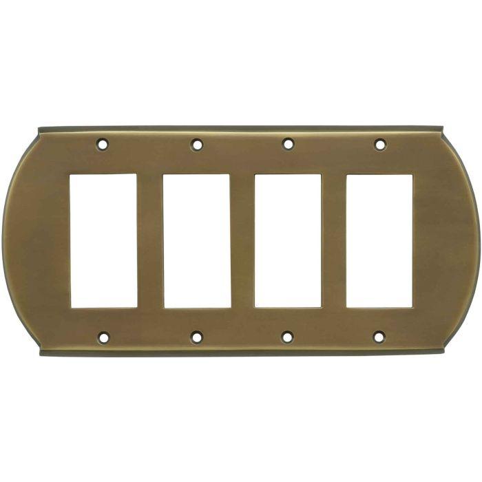 Ovalle Antique Brass 4 Rocker GFCI Decorator Switch Plates