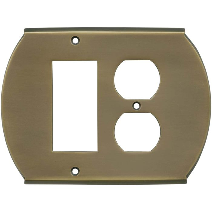 Ovalle Antique Brass Combination GFCI Rocker / Duplex Outlet Wall Plates