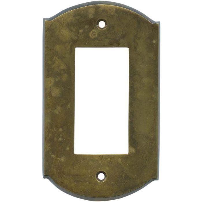 Ovalle Dappled Antique Brass Single 1 Gang GFCI Rocker Decora Switch Plate Cover