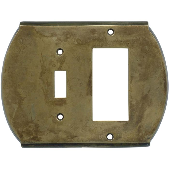 Ovalle Dappled Antique Brass Combination 1 Toggle / Rocker GFCI Switch Covers