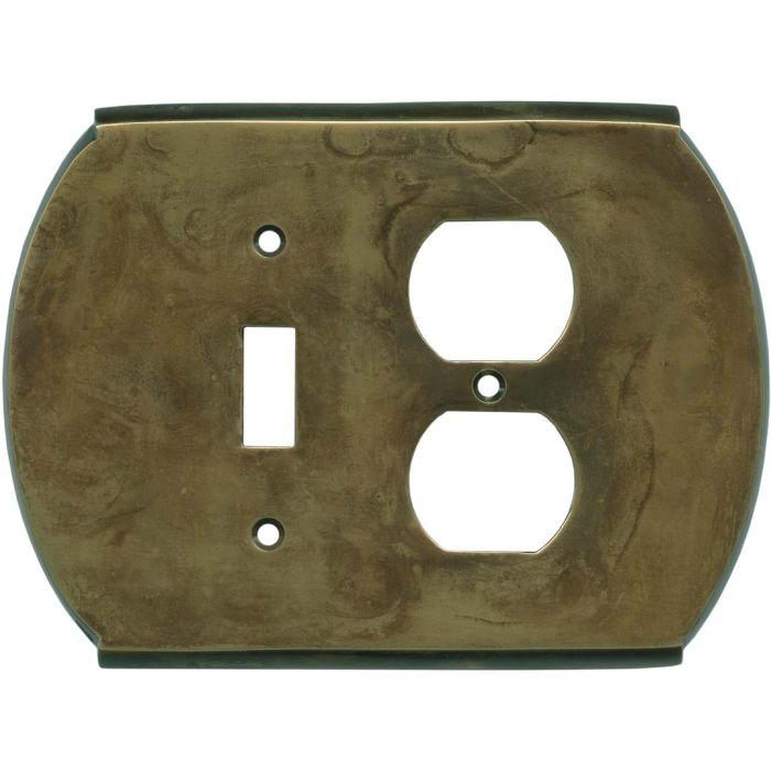 Ovalle Dappled Antique Brass Combination 1 Toggle / Outlet Cover Plates