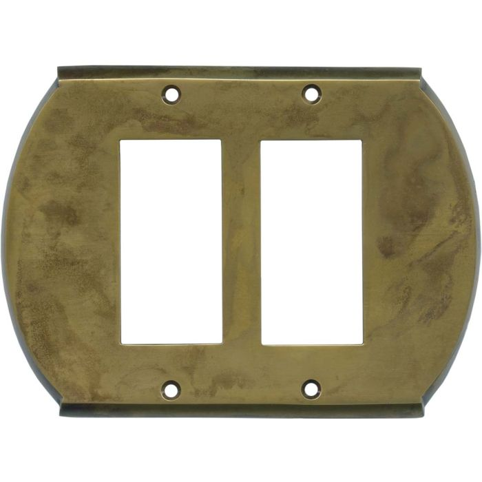 Ovalle Dappled Antique Brass 2 Gang Double GFCI Rocker Decorator Wallplates