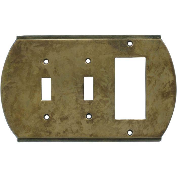 Ovalle Dappled Antique Brass - 2 Toggle/1 GFCI Rocker Switchplates