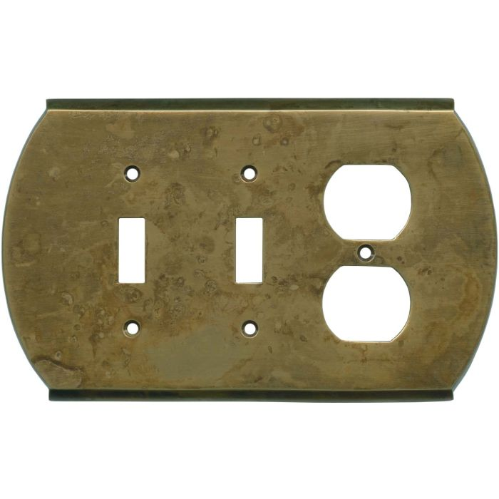 Ovalle Dappled Antique Brass - 2 Toggle/Outlet Combo Wallplates