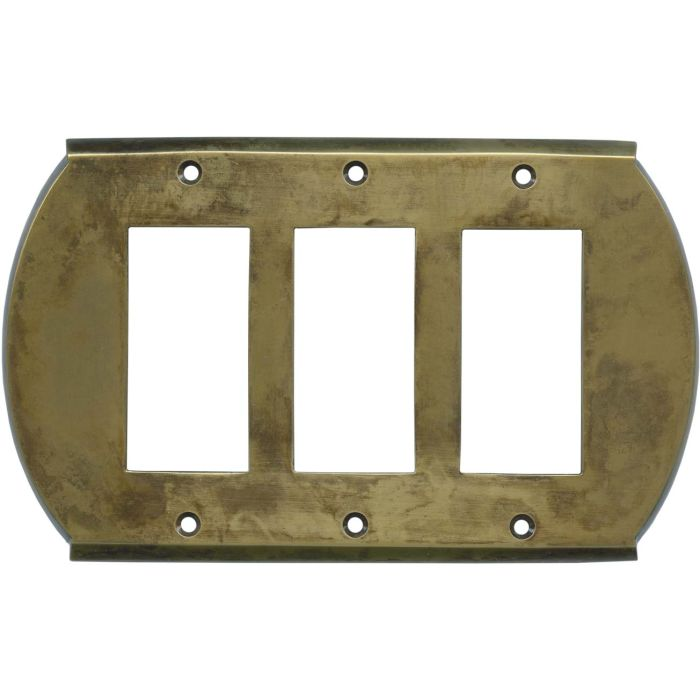 Ovalle Dappled Antique Brass - 3 Rocker GFCI Switch Covers