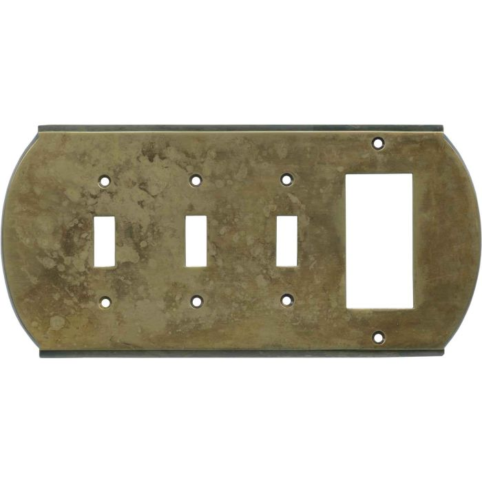 Ovalle Dappled Antique Brass - 3 Toggle/1 Rocker GFCI Switch Covers