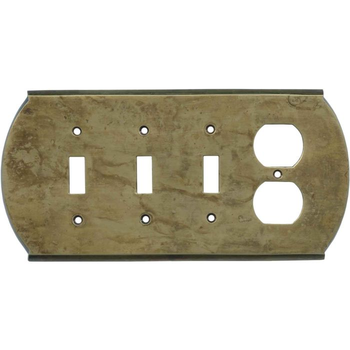 Ovalle Dappled Antique Brass - 3 Toggle/Outlet Combo Wallplates